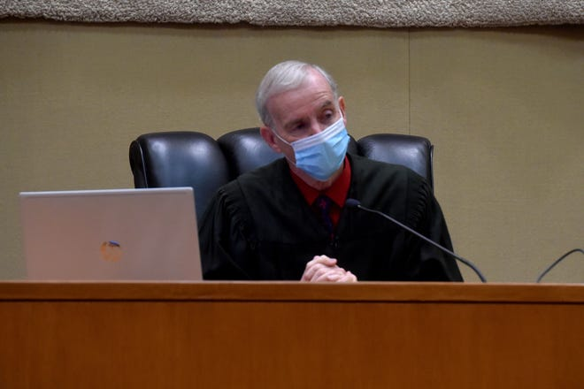 Superior Court Judge Vincent O'Neill Jr. presides over a contempt hearing on Friday, Aug. 21, 2020, after Godspeak Calvary Chapel in Newbury Park continued holding indoor services after a court order to stop.