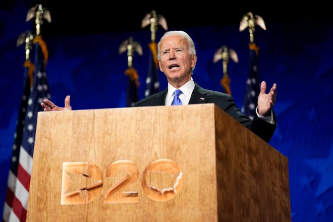 Democratic presidential nominee Joe Biden addresses the Democratic National Convention on Aug. 20, 2020, in Wilmington, Delaware.