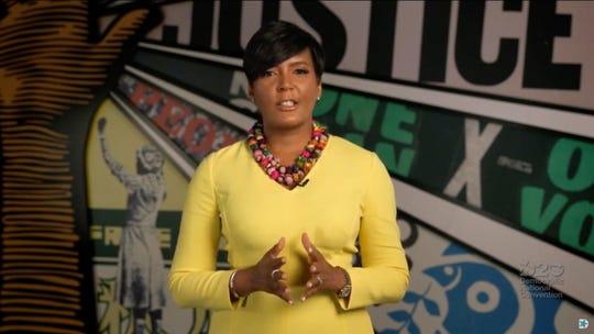 August 20, 2020; Milwaukee, WI, USA; (Editors Note: Screen grab from Democratic National Convention video stream) Keisha Lance Bottoms, Mayor of Atlanta, speaks to viewers during the Democratic National Convention at the Wisconsin Center.