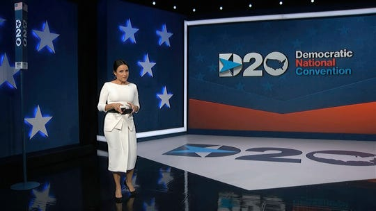 In this image from video, Julia Louis-Dreyfus, serving as moderator, speaks during the fourth night of the Democratic National Convention on Thursday, Aug. 20, 2020. (Democratic National Convention via AP) ORG XMIT: DCJE310