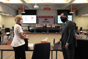 Gov. Kevin Stitt talks to White House Coronavirus Response Coordinator Dr. Deborah Birx during her visit to Tulsa on Sunday. Courtesy