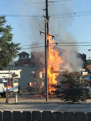 A fire was sparked Saturday morning in downtown Houma after utility crews struck a gas line. No injuries were reported.