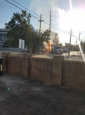 Work crews struck a gas line Saturday morning in downtown Houma.