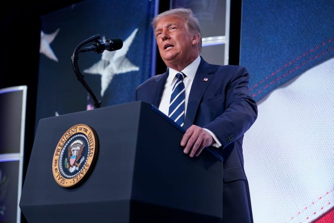 President Donald Trump speaks to the 2020 Council for National Policy Meeting on Friday in Arlington, Va.
