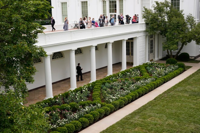 Journalists get an overhead view of the restored Rose Garden at the White House in Washington on Saturday.