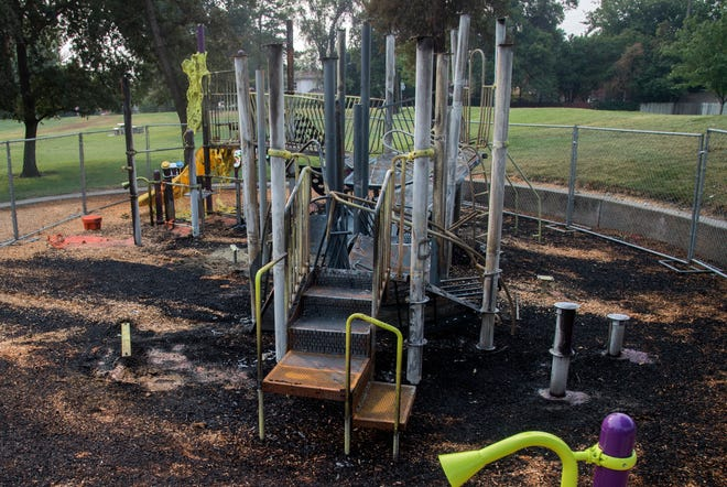 The playground at Stockton's American Legion Park was destroyed by a fire for the second time in three years.