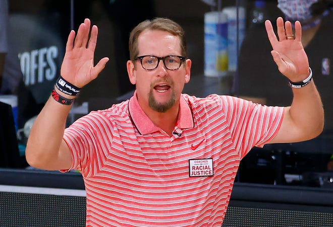 Nick Nurse led the defending champion Toronto Raptors to another 50-win season this year despite losing starters Kawhi Leonard and Danny Green during the offseason. [Kevin C. Cox/Pool Photo via AP]