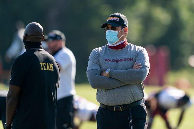 Washington coach Ron Rivera watches his team during practice Tuesday at the team's training facility in Ashburn, Va. [AP Photo/Alex Brandon]