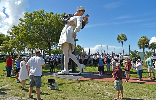 The Veterans of Foreign Wars Sunshine Post 3233 conducted a V-J Day ceremony marking the 75th Anniversary of the commemoration of the end of World War II. The ceremony was held at the Unconditional Surrender statue on Sarasota's bayfront on Aug. 14.