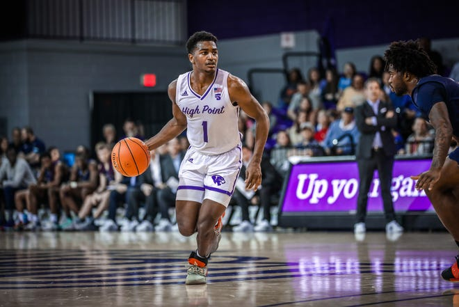 Fayetteville native John-Michael Wright (1), a sophomore at High Point, is one of three players representing N.C. on the NABC player coalition.