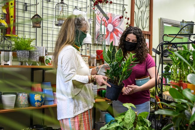 René Anderson, owner of Emporium, helps Lydia Allen, right, pick out a couple plants that will work well for her dorm room when she travels back to Purdue University for the fall semester, Wednesday morning, Aug. 12, 2020.