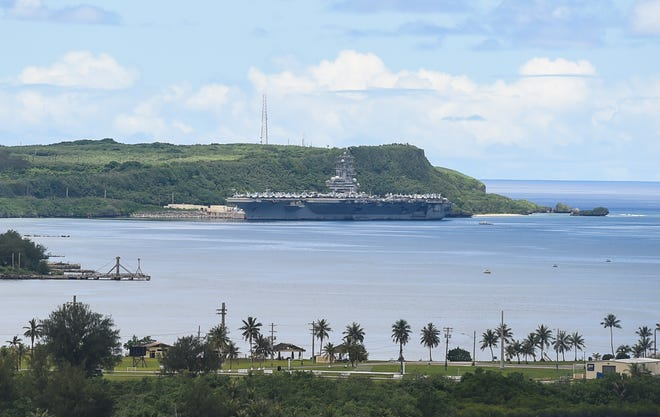 The USS Ronald Reagan visits U.S. Naval Base Guam for a Safe Haven Liberty port visit at Apra Harbor, Aug. 22, 2020.