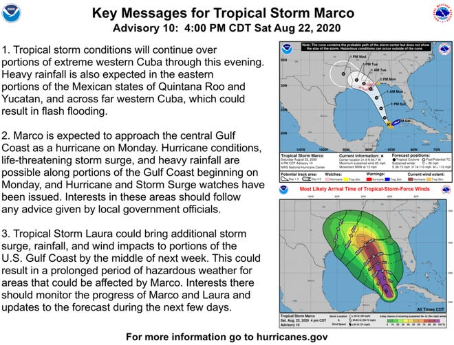 Tropical Storm Marco is moving toward the Gulf of Mexico on a path toward south Louisiana.