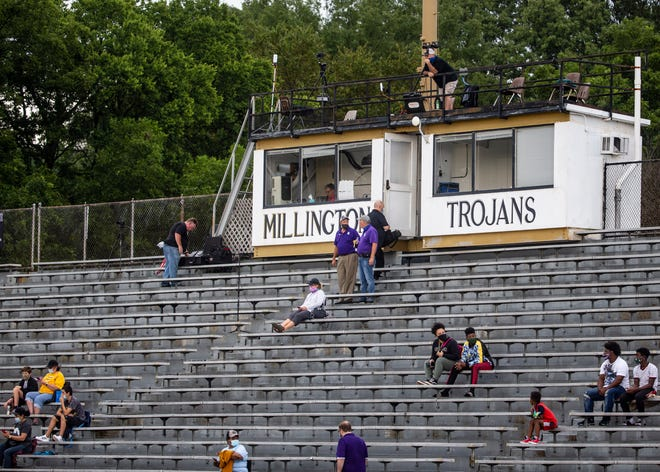 Fans spread out in the stands before Ripley takes on Millington at Millington Central High School on Friday, Aug. 21, 2020.
