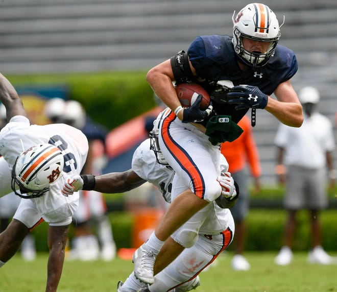 Auburn tight end Brandon Frazier (87) runs after a catch during a scrimmage at Jordan-Hare Stadium on Saturday, Aug. 22, 2020 in Auburn, Ala.