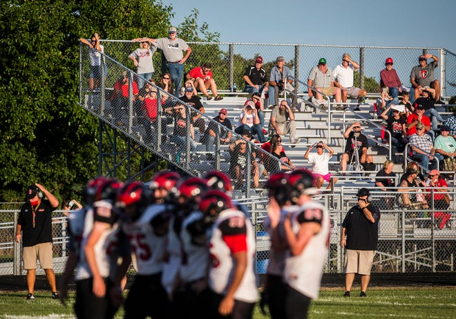 Blackford faced off against Wes-Del during their game at Wes-Del High School Friday, Aug. 21, 2020. The match up was the first football game to be played in Delaware County this year.