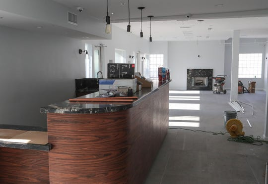 The Green Dragon cannabis dispensary lounge area is under construction in downtown Palm Springs, July 21, 2020.