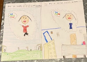 Braxtyn Simmons, 11, draws a picture of her life before and after the pandemic.