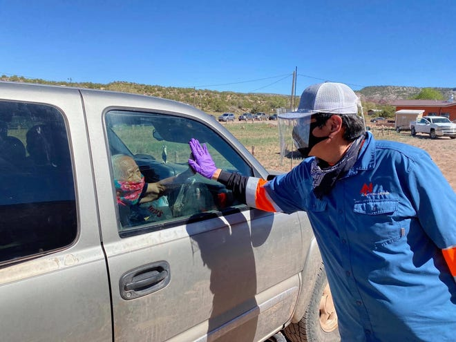 Navajo Nation President Jonathan Nez on May 1, 2020 helped deliver food to families on the Navajo Nation during the COVID-19 pandemic.