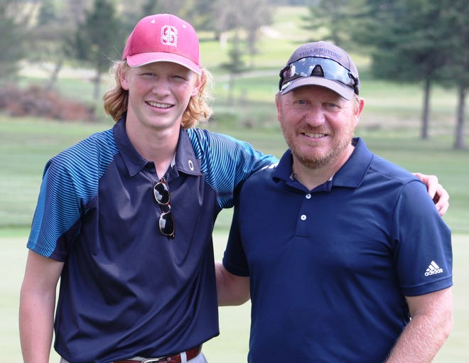 The father and son duo of, from left, Luke and Mike Spangler were part of a three-way tie for the lead after the first round of the Lebanon County Better Ball last month. Monday, Luke Spangler, of Northern Lebanon, tied for second at the Lancaster-Lebanon League Championships after shooting a 78.