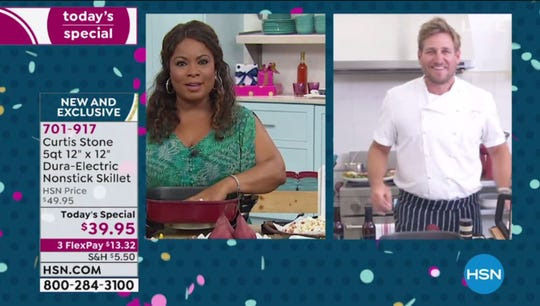 Chef Curtis Stone, right, talks to HSN host Marlo Smith from his Los Angeles kitchen. Stone is one of many HSN and QVC guests and hosts who have had to make alternate appearance plans after the COVID-19 pandemic halted traditional studio production.