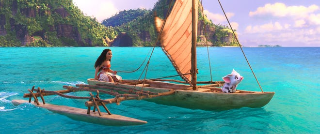 """Moana (voiced by Auli'i Cravalho) from Disney's """"Moana"""" is a brave young woman who is called out to sea. Her mission to save her people is much nobler than mine to find personal joy, but still."""