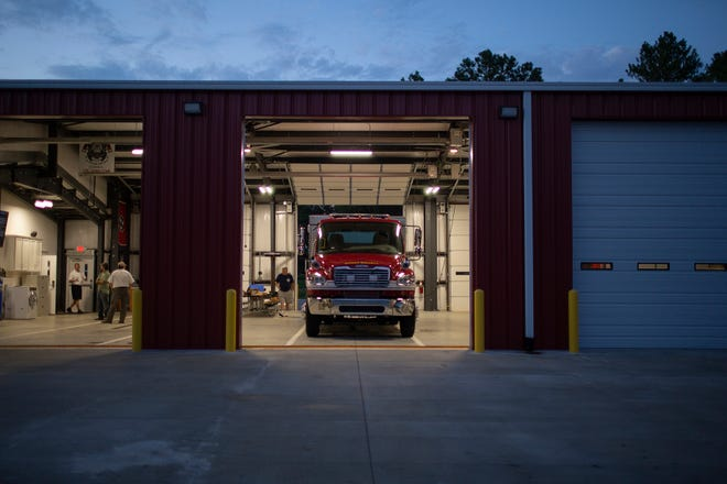 A new fire engine sits inside Maury County Fire Department Station 12, following a celebration for the new truck at the volunteer station on Carters Creek Pike in Maury County, Tenn., on Tuesday, Aug. 18, 2020. A new station is also planned for Hampshire to decrease response time in the rural area.