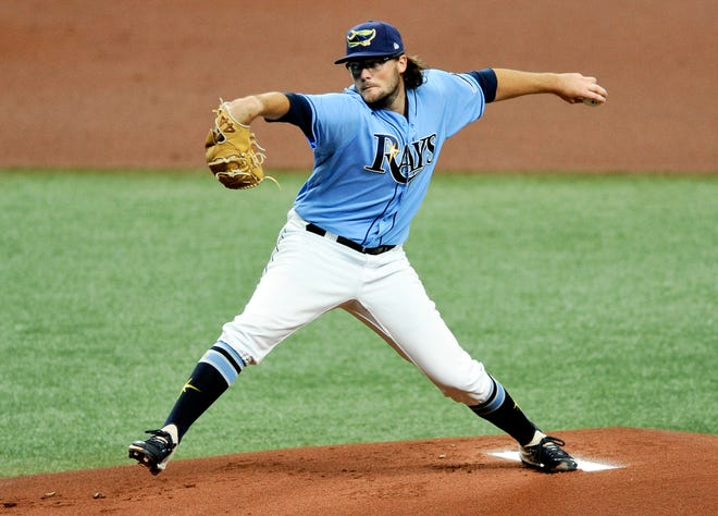 Tampa Bay Rays starter Josh Fleming makes his major league debut during the first inning of a game against the Toronto Blue Jays on Sunday in St. Petersburg.