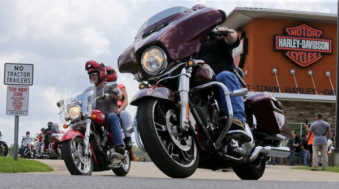 Cyclists gather and ride from the T-Town Harley Davidson dealership Sunday, August 23, 2020, in Cottondale to help raise money for Tuscaloosa Police officer Justin Taylor who was injured in an off-duty motorcycle wreck July 7. [Staff Photo/Gary Cosby Jr.]