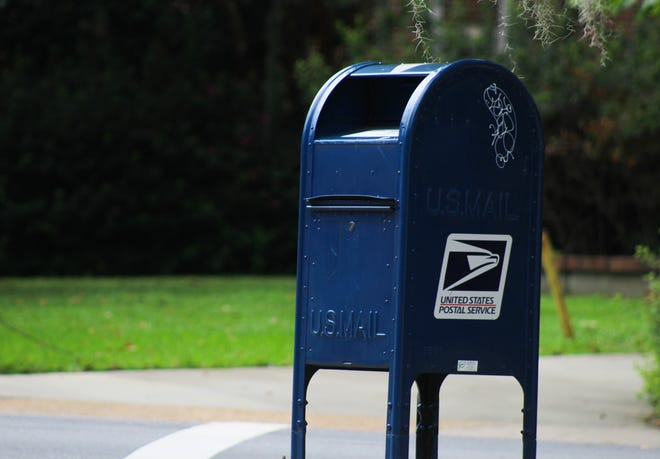 A USPS mailbox sits at the corner of N Copeland St. and Park Avenue.