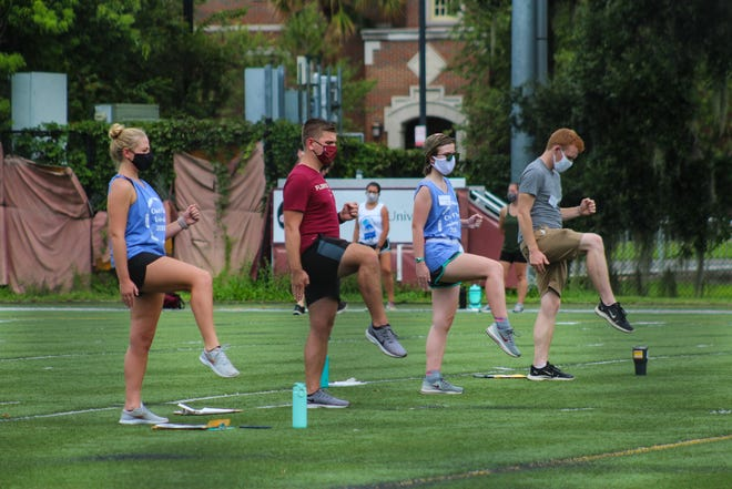 The FSU Marching Chiefs held their first rehearsal at the Bill Harkins Field Friday, Aug. 21, 2020.