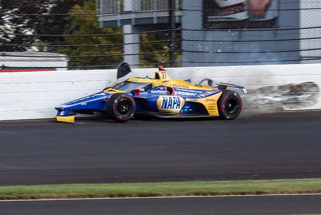 Andretti Autosport driver Alexander Rossi (27) hits the wall in turn two during the 104th running of the Indianapolis 500 at Indianapolis Motor Speedway on Sunday, August 23, 2020.