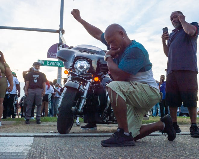Protesters take to the street and block traffic at the intersection of Willow St and  Evangeline Thruway after vigil held for 31-year-old Trayford Pellerin who was shot and killed by Lafayette police officers while armed with a knife. Saturday, Aug. 22, 2020.