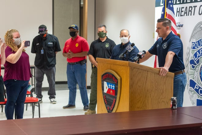 Mayor President Josh Guillory holds joint press conference with Chief of Police Scott Morgan, Sheriff Mark Garber, Fire Chief Robert Benoit, and Parish Councilman Abraham Rubin.  Saturday, Aug. 22, 2020.