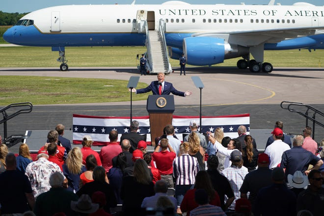 """President Donald Trump delivered remarks on what the campaign is calling """"Joe Biden's failures on Jobs and the Economy"""". He spoke to an invitation only crowd at North Star Aviation, Mankato, MN. (Glen Stubbe/Minneapolis Star Tribune/TNS"""