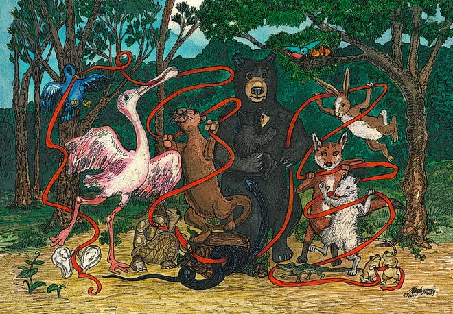"""Mary Liz Tippin-Moody's """"Thin Red Line of Hope"""" depicts creatures native to the Tallahassee region sharing a thin red ribbon that represents their ability to survive despite many threats."""