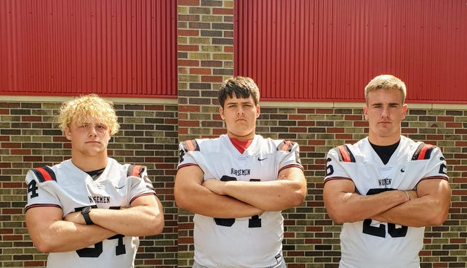 Seniors Jimmy Philipsen (left), David Downs (center) and Zach Twedt hope to lead the Roland-Story football team to more success in 2020.