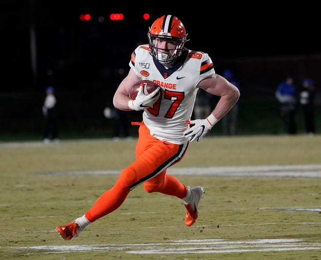 Central Bucks West grad Luke Benson had a solid freshman season at tight end for Syracuse in 2019.