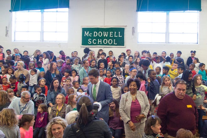 Columbia Mayor Chaz Molder and Vice Mayor Christa Martin meet with students, teachers and community members at  McDowell Elementary School after being ceremoniously sworn in to office on Thursday, Jan. 10, 2018.