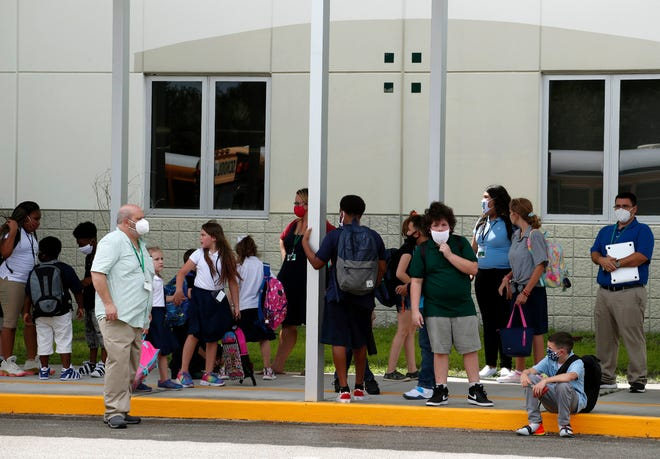 Bunnell Elementary School students finish the first day back to school in Flagler County, Monday, Aug. 24, 2020.