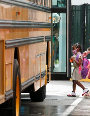 Bunnell Elementary School students finish the first day back to school in Flagler County, Monday, August 24, 2020. [News-Journal/Nigel Cook]