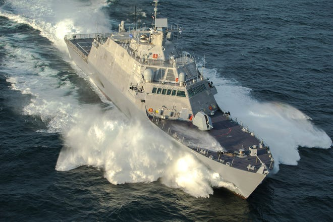 Littoral Combat Ship 21, soon to be named the U.S.S. Minneapolis-Saint Paul, undergoing recent acceptance trials in Lake Michigan.