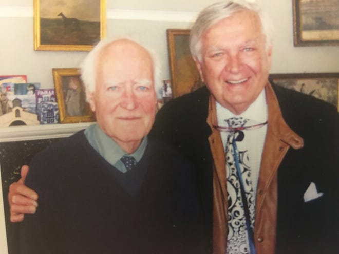 On a trip to Ireland several years ago, Carleton Varney, right, visited at Leixlip Castle with his longtime friend, the late Desmond Guinness, who died Aug. 20 at 88.