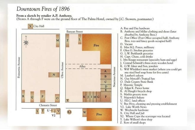 """This map showing the two 1896 fires in downtown West Palm Beach was produced for the Palm Beach Post's 1994 history book, """"Pioneers in Paradise."""""""
