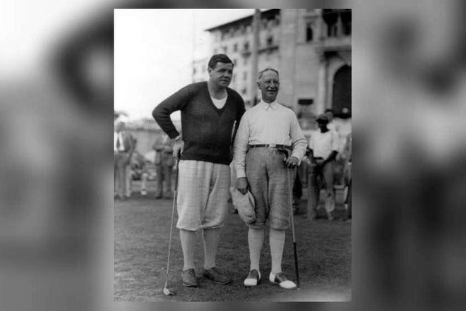 Babe Ruth and the former governor of New York, Al Smith, at the Miami Biltmore hotel in Coral Gables on Jan. 17, 1930. [State Archives of Florida]