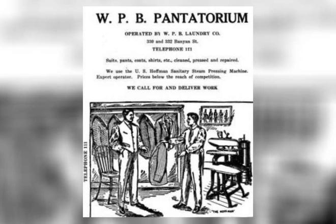 """This ad for the """"West Palm Beach Pantatorium"""" appeared in the 1915 West Palm Beach city directory. [Ancestry.com]"""