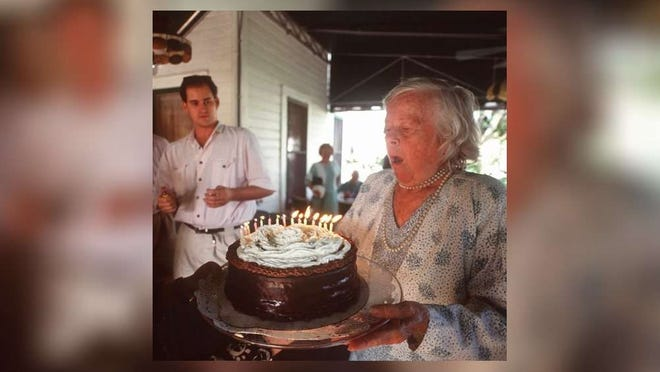 Daisy Sundy Meehan celebrates her 84th birthday on March 21,1992, at the Sundy House Tea Room and Antique Shop, the house where she grew up.