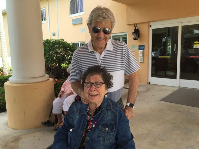Jerome and Rosalyn Mazursky in front of her nursing home before she died. Jerome Mazursky moved his wife from one nursing home to another because they wouldn't let him visit her through a window during COVID-19 lockdown.