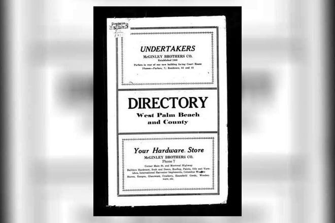 Front page of the 1915 West Palm Beach city directory. [Ancestry.com]