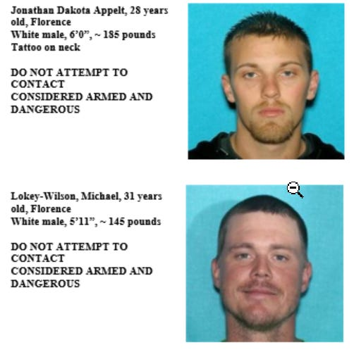 State police are looking for Jonathan Appelt and Michael Lokey-Wilson in relation to a kidnapping and assault over the weekend.